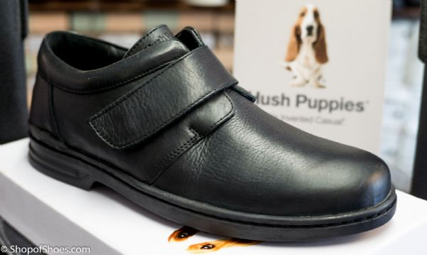 Hush Puppies Mens soft leather velcro shoe